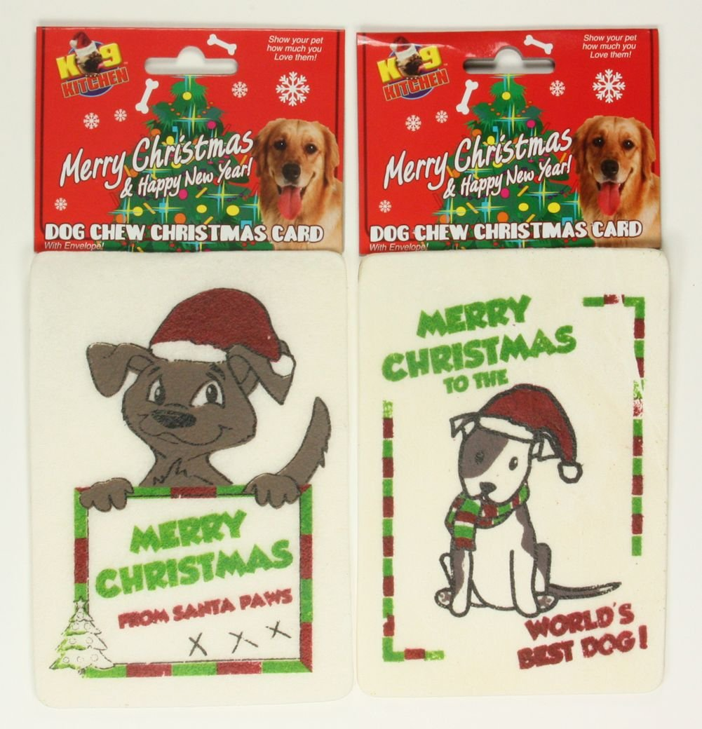 Edible Rawhide Chew Dog Christmas Card