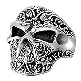ZABRA Flower Skull Pack Ring Punk Sterling Silver Biker Ring Open Size 6 to 13