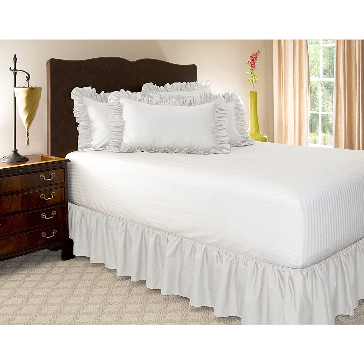 Ruckel MFG Harmony Lane Dust Ruffled Full Bed Skirt with Platform, White