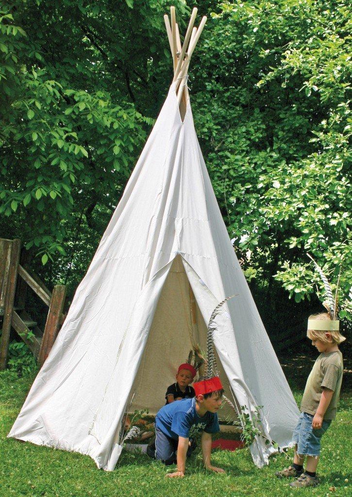 Tipi groß / Großes Indianerzelt / Durchmesser:270 cm, Höhe:325 cm / aus wasserabweisender Zeltstoff aus Baumwolle+steckbares Holzgestänge kaufen