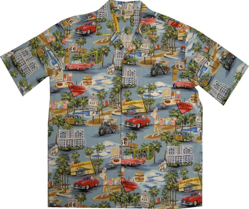 Vintage Route 66 Men's Hawaiian Shirt – Made in Hawaii USA 0