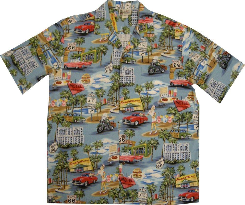 Vintage route 66 men 39 s hawaiian shirt made in hawaii usa for Lsu hawaiian print shirts