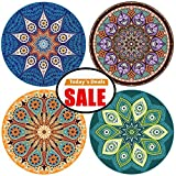"""Absorbent Coasters For Drinks, 4 Pack Large 4.3"""" Size Ceramic Stone Coaster With Cork Back, Mandala Style, Holder Available Separately, Save Furniture From Drink Spill and Water Rings"""