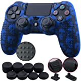 9CDeer 1 Piece of Silicone Studded Water Transfer Protective Sleeve Case Cover Skin + 8 Thumb Grips Analog Caps + 2 dust proof plugs for PS4/Slim/Pro Dualshock 4 Controller, Skull Blue (Color: Skull Blue, Tamaño: printing)