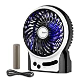 Battery Fan,EasyAcc Rechargeable Fan with LG 2600mA Battery,Internal and Side Light 2-9 Hours Adjustable 3 Speeds Portable Handheld Personal Mini USB Fan Cooling for Traveling,Fishing,Camping - Black (Color: Black)