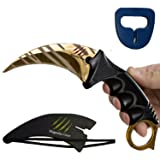 KARAMBIT CSGO Knife Skins By Magnolia Gear | Tactical Knife | Neck Knife Easy To Carry with Rope, Sheath and Sharpener | Perfect for Hunting Fishing Camping Survival | Personal Self Defense Tiger (Color: Gold)