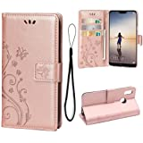 Wallet Case for Huawei P20 LITE, 3 Card Holder Embossed Butterfly Flower PU Leather Magnetic Flip Cover for Huawei P20 LITE(Rose Gold) (Color: A1-Rose Gold)