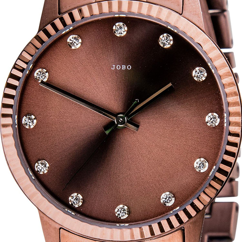 Damen-Armbanduhr Quarz Analog Edelstahl mit Kristall-Elements Mineralglas günstig