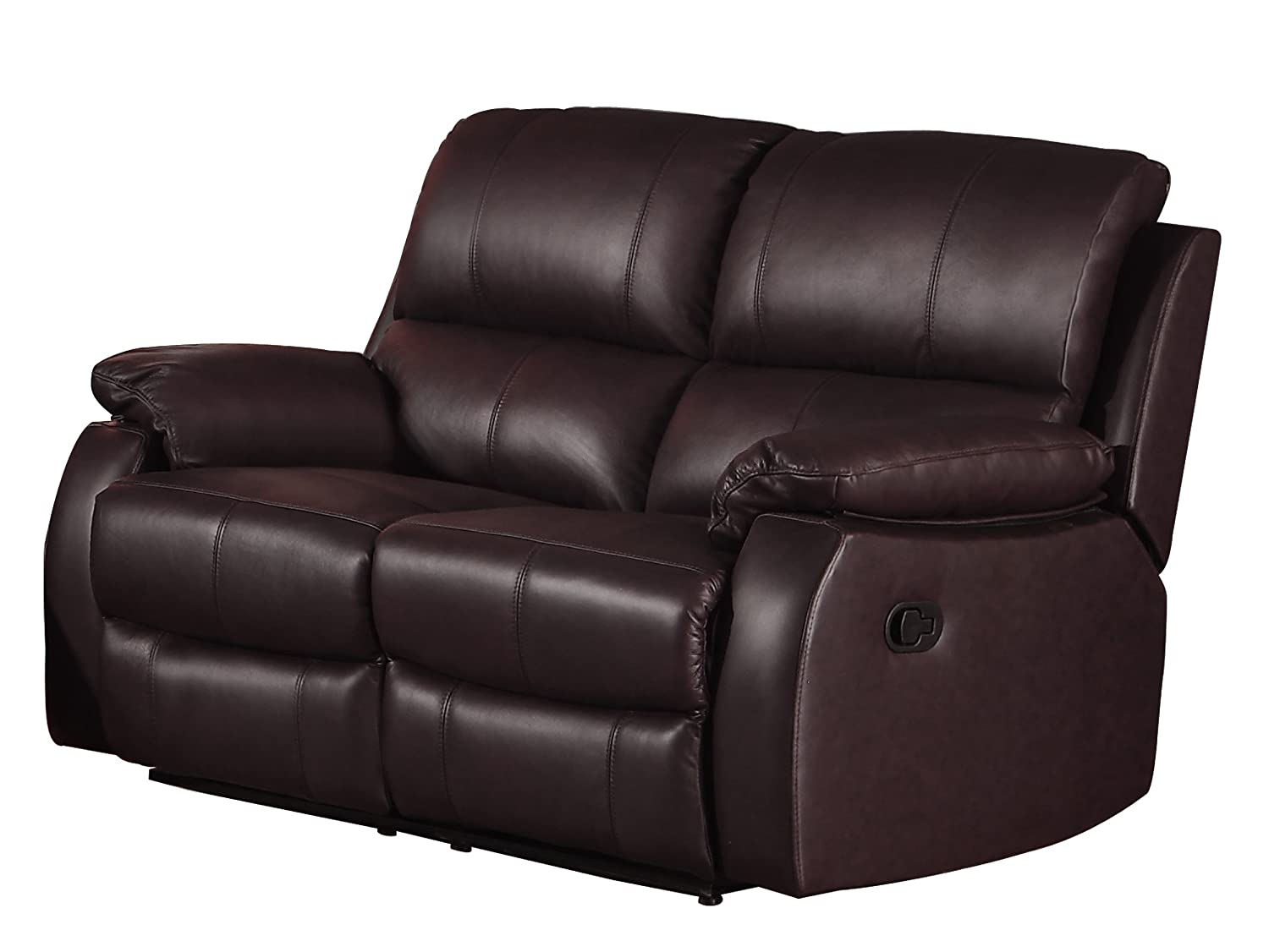 Homelegance Jedidiah Double Reclining Loveseat with Top Grain Leather Match - Chocolate