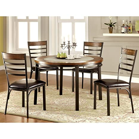 Furniture of America Reliford 5 Piece Round Dining Table Set