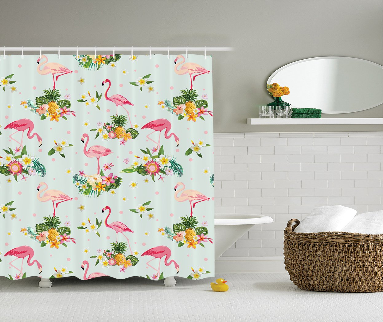 Ambesonne Flamingo Decor Collection, Flamingo Bird and Tropical Flowers Fruits Pineapples Plumeria Vintage Style Art, Polyester Fabric Bathroom Shower Curtain, 75 Inches Long, Pink Salmon Coral Green 0