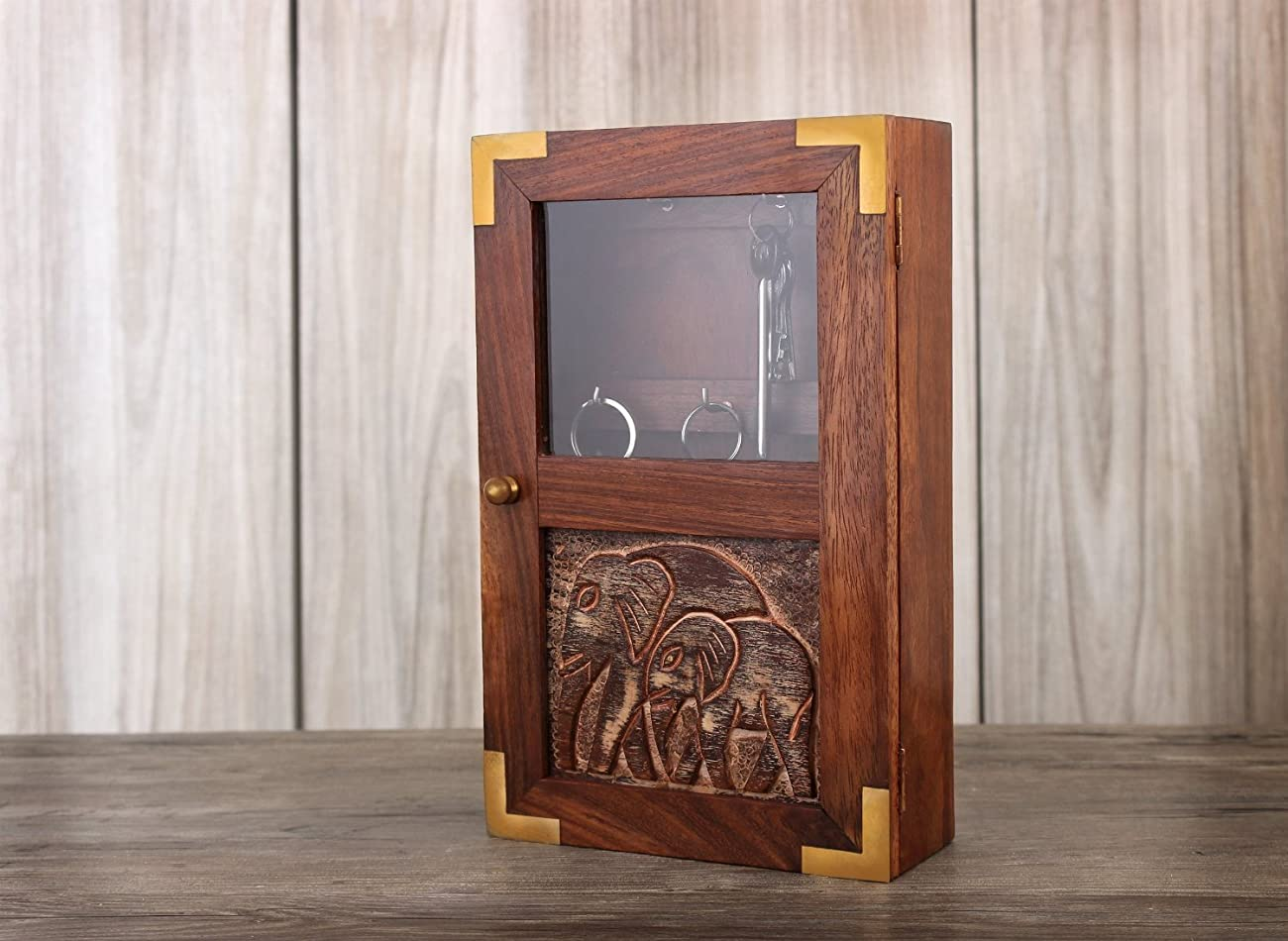 Handmade Decorative Wooden Wall Mounted Key Cabinet with Glass Panel Door & Elephant Carvings 3
