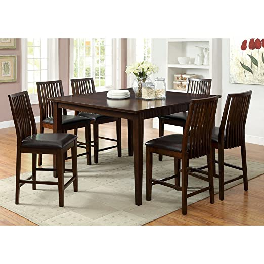 Furniture of America Alliani 7-Piece Counter Height Dining Table Set - Walnut