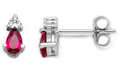 Miore 0.04 ct Gem Stone 9 ct White Gold Stud Earrings