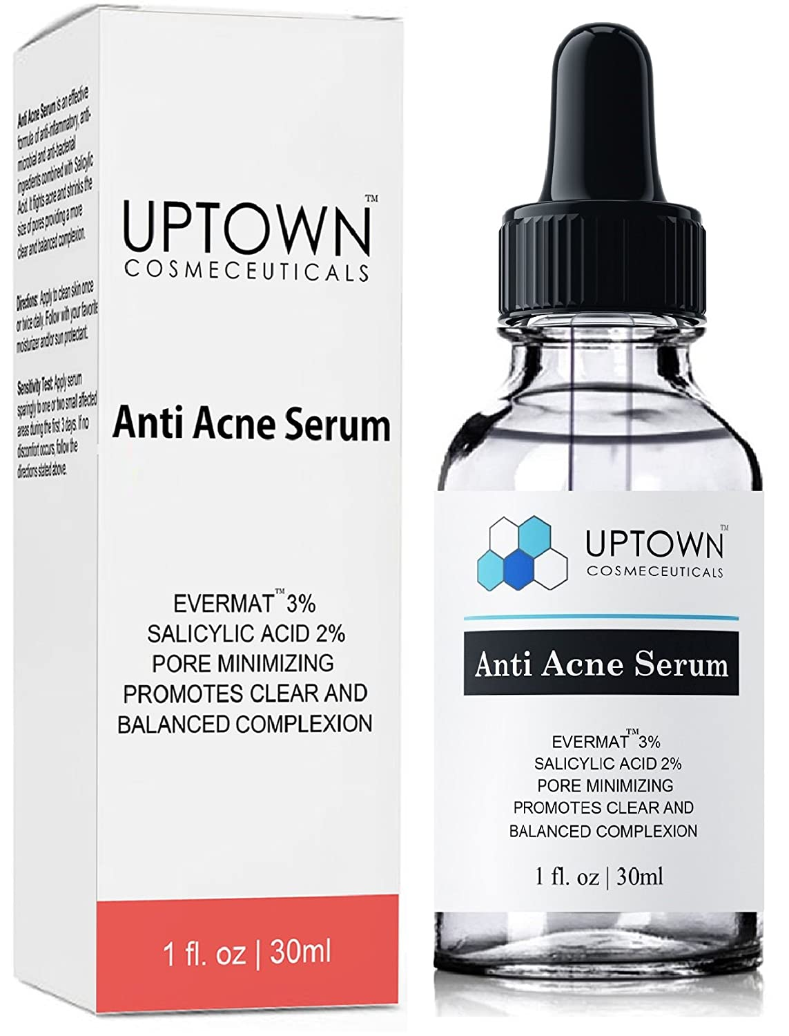 Anti Acne Serum for Men, Women & Teens From Uptown Cosmeceuticals Offers Cutting Edge Skin Care Product That Helps to Control & Get Rid of Acne, Best Pore Minimizer Treatment, 30ml