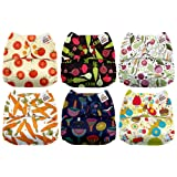 Mama Koala One Size Baby Washable Reusable Pocket Cloth Diapers, 6 Pack with 6 One Size Microfiber Inserts (Happy Harvest) (Color: Happy Harvest, Tamaño: One Size)