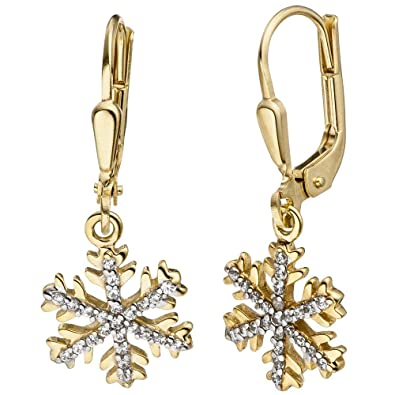 Earrings Bicolor with Zirconia 333 gold Yellow gold snowflakes