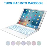 iPad Pro 12.9 inch Keyboard with 7-Colors Backlight, Raydem Ultra Slim Wireless Bluetooth Keyboard Folio 130 Degree Multi-Angle with Auto Wake/Sleep for Apple iPad Pro 12.9 inch(All Versions) White (Color: iPad 12.9 Keyboard A-White)