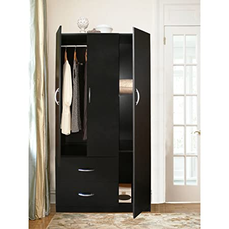 Home Source Industries RLN3224H Modern 3-Door Wardrobe and 2-Drawer, Black