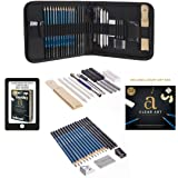 Professional Art Kit - Sketching & Drawing Set - Art Supplies – 33 - piece set with case – Pencils – Graphite – Charcoal – Erasers – Sharpeners (Color: White)