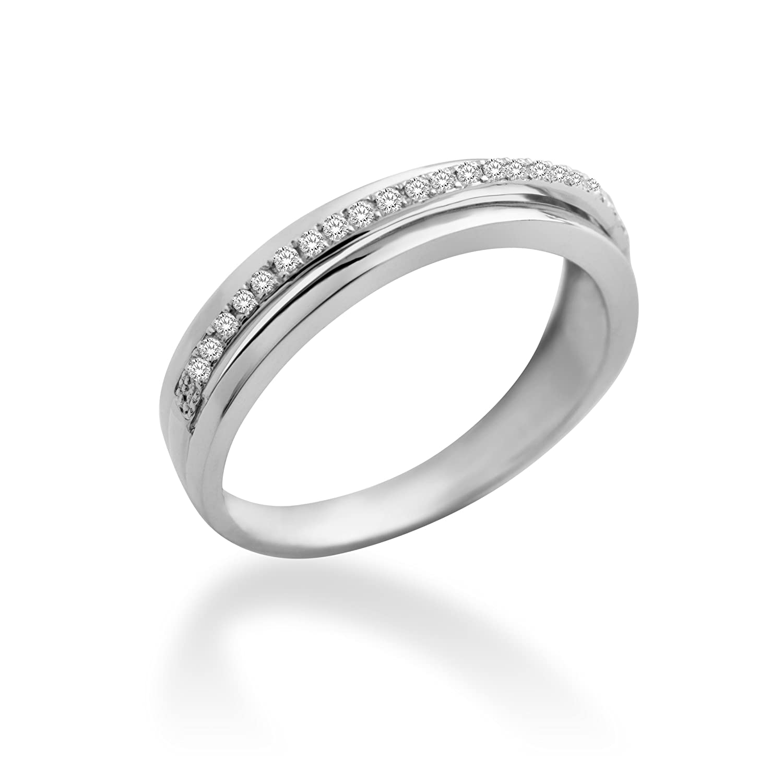 Miore Damen-Ring 9 Karat (375) Weißgold mit 0.12ct Brillanten MP9073R als Weihnachtsgeschenk kaufen