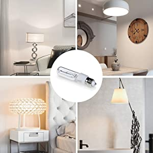 4-Pack JDE11 120V 75W Dimmable Halogen Bulb T4 Mini Candelabra Base Warm White for Chandeliers, Ceiling Fan, Table Lamps, Cabinet Lighting (Tamaño: 4Pack 75W)