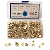 YMAISS 90 Sets Chicago Screws 3 Size 1/4,3/8,1/2in Brass Plated Screw Posts Bookbinding Posts Binding Screw Chicago Button Post Rivets Screw Belt Screws Leather Photo Albums Screw Phillip Head,Gold (Color: Gold)
