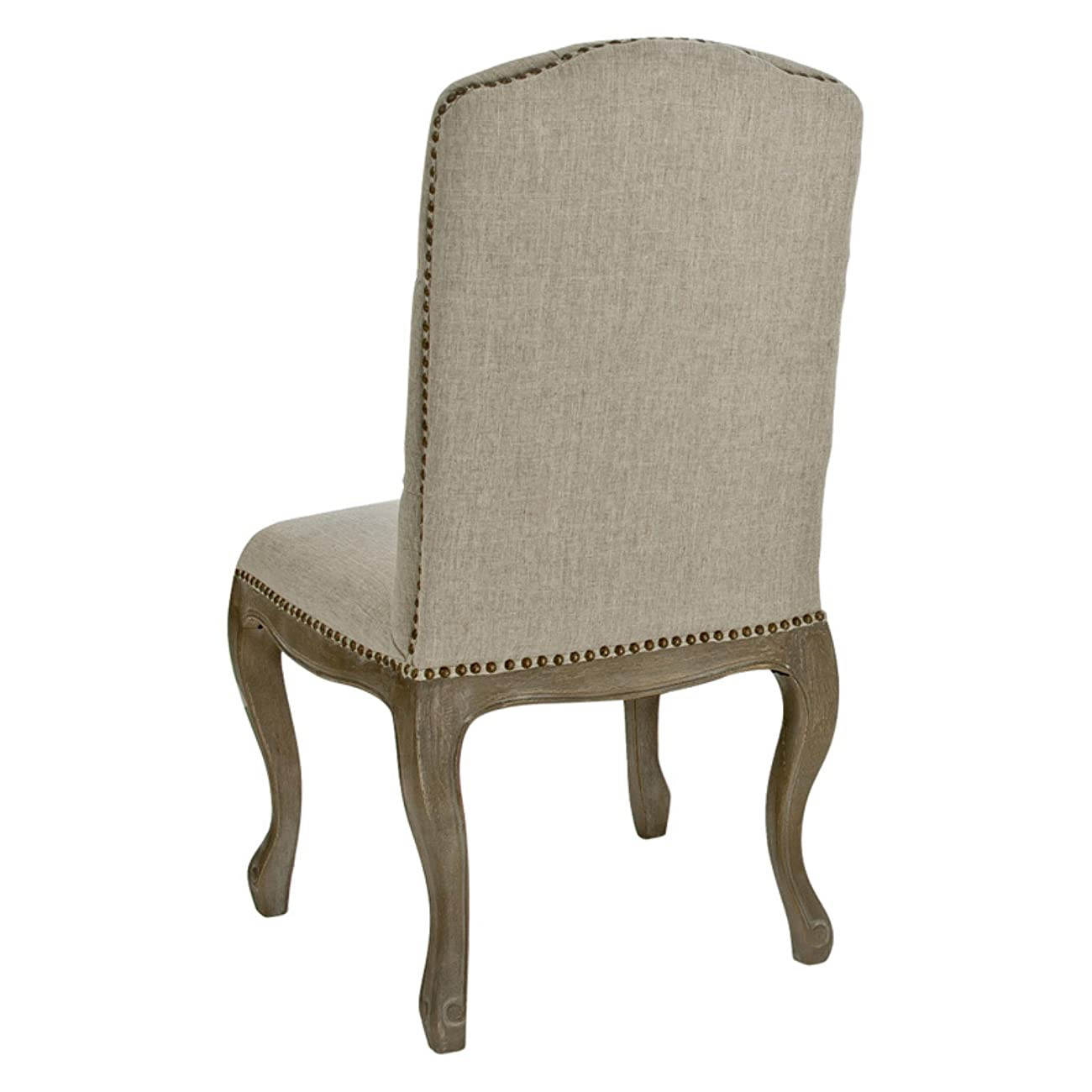 Best Selling Tufted Fabric Weathered Hardwood Dining Chair, Beige, Set of 2 1