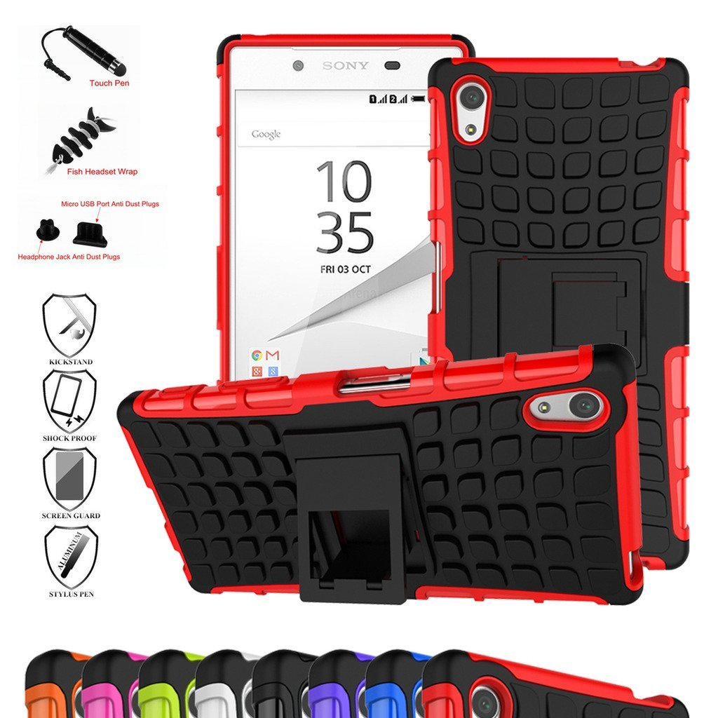 Z5 Compact Case,Mama Mouth Shockproof Heavy Duty Combo Hybrid Rugged Dual Layer Grip Cover with Kickstand For Sony Xperia Z5 Compact (With 4 in 1 Free Gift Packaged),Red