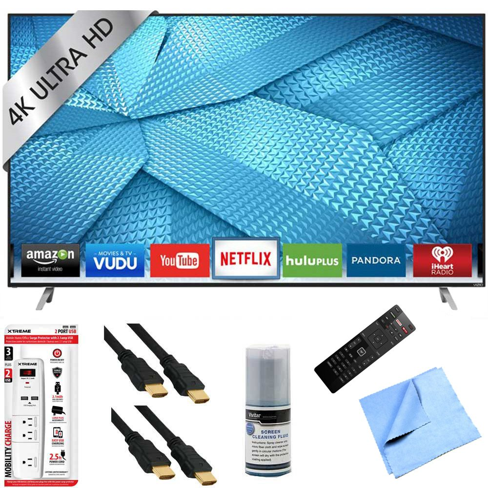 Vizio M49-C1 - 49-Inch 120Hz 4K Ultra HD M-Series LED Smart HDTV Hook-Up Bundle includes M49-C1 4K Ultra HD Smart TV, Screen Cleaning Kit, 6