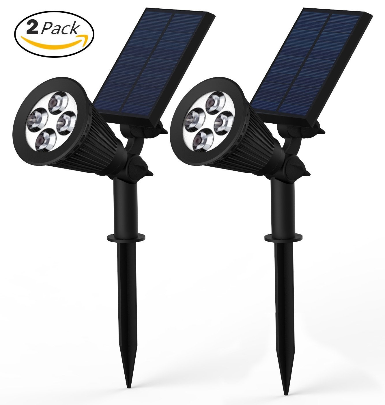 Solar Lights, Lemontec 2-in-1 Adjustable 4 LED Wall and Landscape Light; Spotlight Bright-and-Dark Sensing Auto On/Off Security Lighting; Ideal for Patio, Yard, Garden, Driveway, and Pool 2 Pack