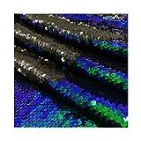 Reversable Sequin Fabric 5mm Mermaid Shiny Flip Sequins Reversible Sequin Fabric Material for Sewing 9 Feet 3 Yards Iridescent Blue to Black -1019S (Color: Blue, Tamaño: 3 Yards)