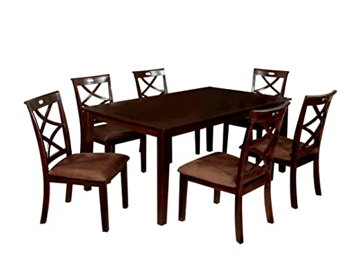 Furniture of America Rhea 7-Piece Dining Table Set with Criss Cross Design Chairs, Dark Walnut Finish