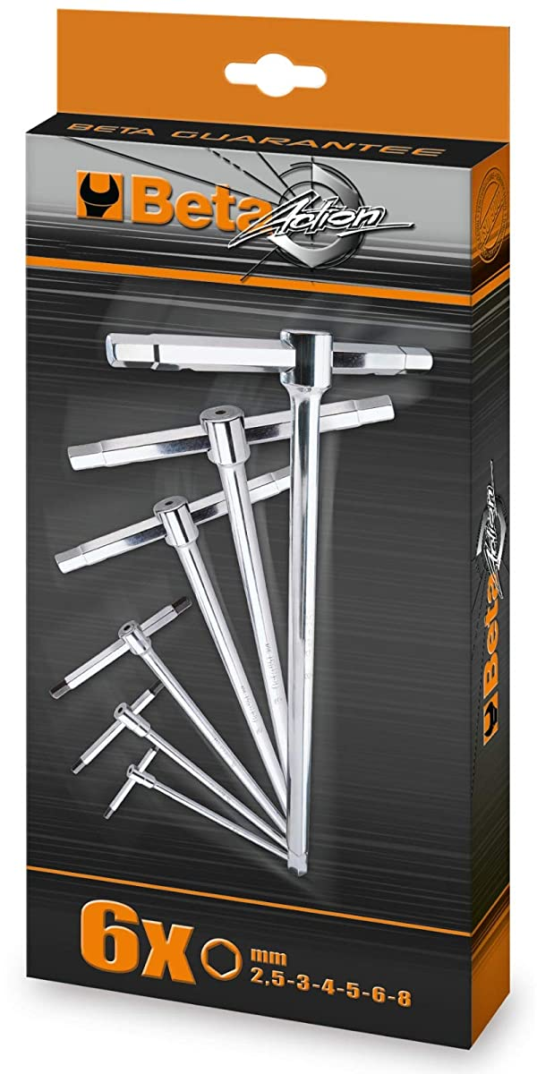 Beta 951/S6 T-handle Wrench Set with three hexagon male ends (Metric)