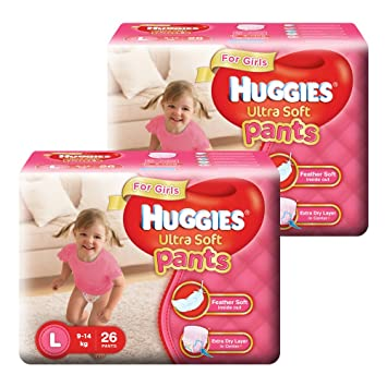 Image result for Huggies Ultra Soft Pants Large Size Premium Diapers for Girls (2 x 26 Counts)