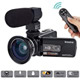 Camera Camcorder Kimire HD 1080P 16X Powerful Digital Zoom Video Camera with Microphone and Wide Angle Lens 3.0 Inch Screen 24 MP Remote Control Infrared Night Vision Recorder (3053STRMW-Black) (Color: 3053STRMW)