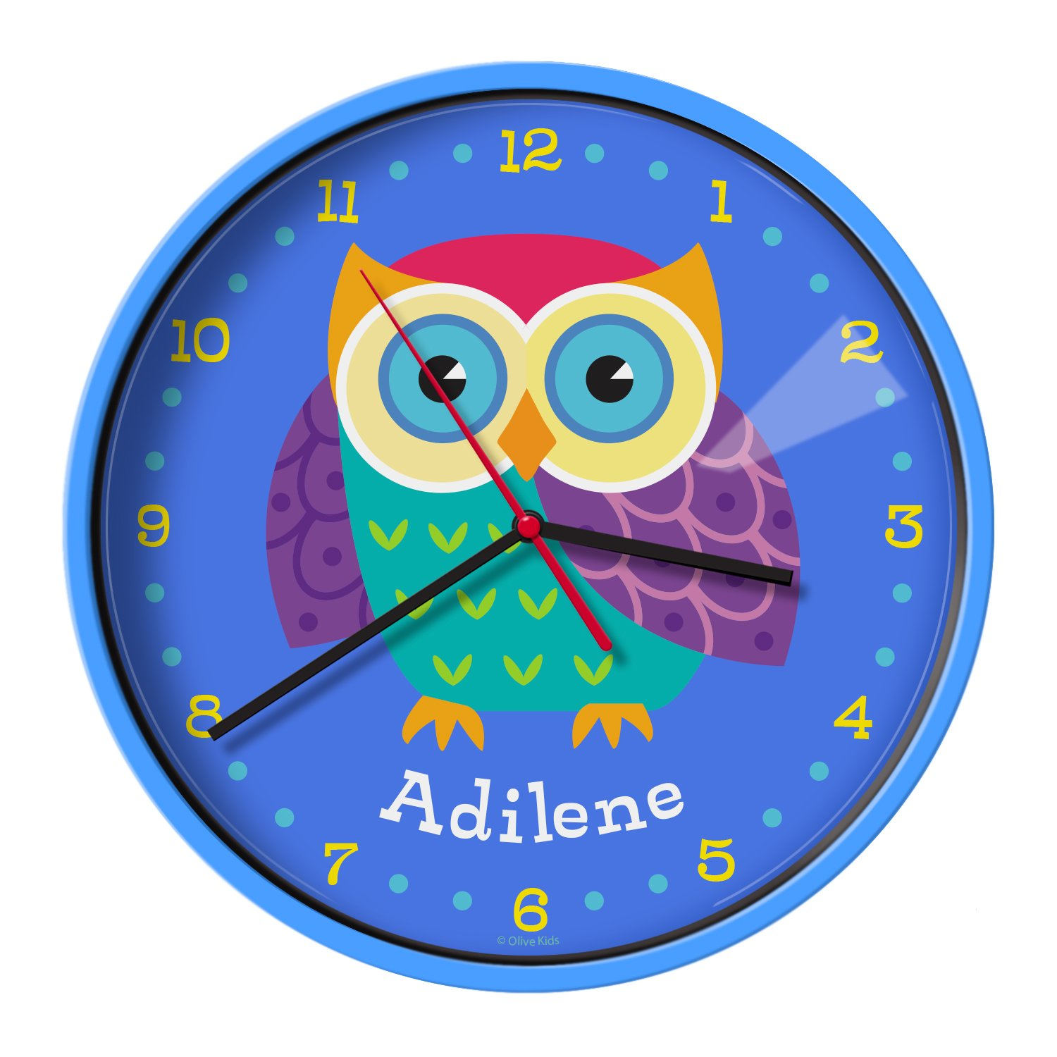 Olive Kids Personalized Owls Clock with Blue Case yallo kids