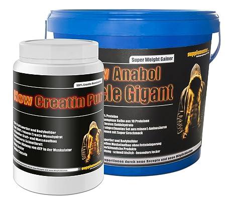 Creatin Pur 500g+Anabol Muscle Gigant Vanille 2,27kg! 100% Kreatin Monohydrat Eiweißpulver Eiweißshake Protein BCAA super anabol Masse Kraft