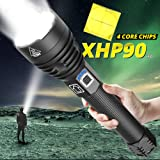 High Power LED Flashlight XHP90 Super Bright LED Tactica Flashlight Tactical, Zoomable, 3 Modes, IPX5 Waterproof with 26650 Rechargeable Batteries (1909 Flashlight)