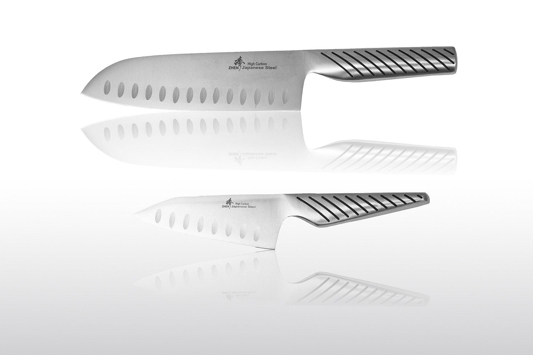 zhen japanese steel 8 inch chefs knife and 7 inch santoku knife set ebay. Black Bedroom Furniture Sets. Home Design Ideas