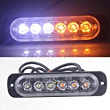 Glumes Amber 6 LED Car Truck Emergency Beacon Warning Hazard Flash Strobe Light Bar- Emergency Beacon Caution Warning Strobe Lights for Truck Car Vehicle Law Enforcement Snow Plow (White,Yellow) (Color: White,Yellow, Tamaño: As the picture shows)