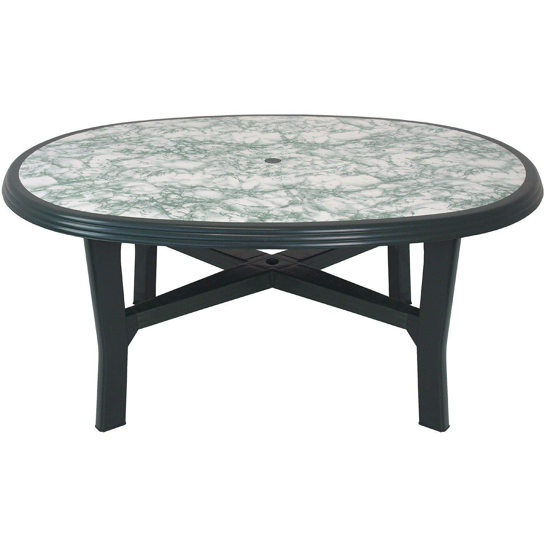 Robuster Gartentisch 165x110cm oval Tischplatte mit Marmor-Optik Beistelltisch Campingtisch Balkontisch Kunststoff Gartenmöbel Balkonmöbel Campingmöbel Kunststofftisch - Grün