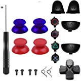 Yosikr Pairs Thumbsticks Joystick for Playstation 4 PS4 Controller with Cross Screwdriver + L2 R2 L1 R1 Trigger Replacement Parts + ABXY Bullet Buttons + D-pad + Small Spring (Blue adn Red) (Color: Blue adn Red)