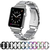 GreenInsync for Apple Watch Bands 42mm Metal, Special Edition Stainless Steel Wristbands Buckle Clasp Iwatch Strap Replacement Bracelet W/Silicone Cover Gray for Apple Watch Series 3/2/1 (Color: BB:Silver-Gray, Tamaño: 42 mm)