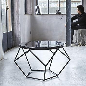 Couchtisch aus Metall und Marmor geometrische Form Design Loftstil