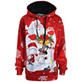 Christmas Sweatershirt, ? Ninasill ? Exclusive Santa Claus Snowman Hoodies Tops Sweatershirt Pullover (L, Red)