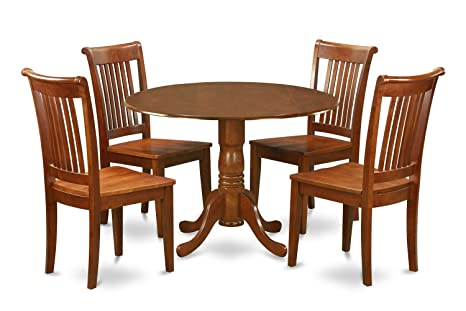 East West Furniture DLPO5-SBR-W 5-Piece Kitchen Table Set, Saddle brown Finish