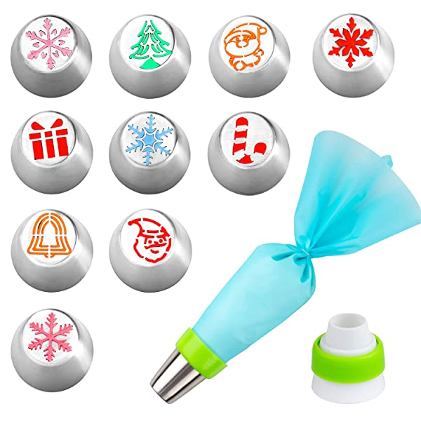 Whaline Russian Icing Piping Tips Pastry Baking Tools Kits Christmas Design 12pcs set for Cakes Cupcakes Decorating include 10 Pcs Icing Nozzles, 1 Co