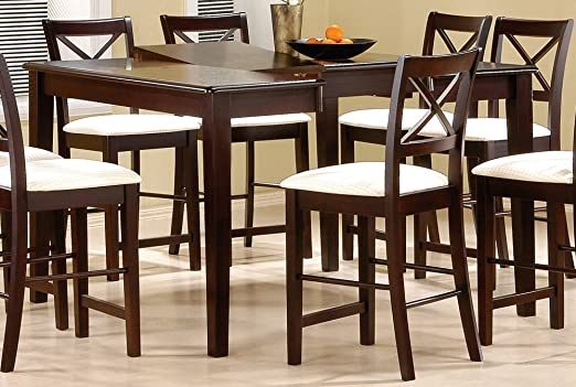 Counter Height Dining Table with Butterfly Leaf Cappuccino Finish