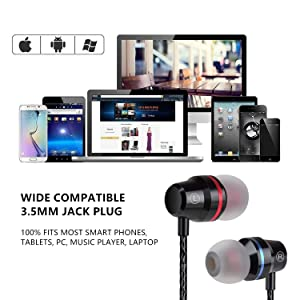 Earbuds Ear Buds in Ear Headphones Wired Earphones with Microphone Mic Stereo and Volume Control Waterproof Metal Wired Earphone for iPhone Samsung Mp